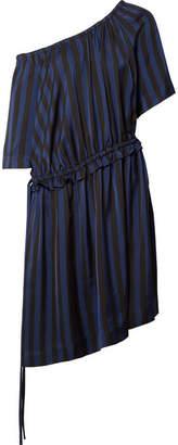 Kenzo One-shoulder Striped Satin-jacquard Dress - Black