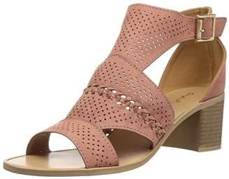 Qupid Women's Wood Heel Sandal Heeled