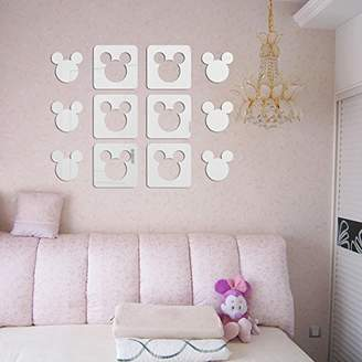 HEYING DECO Square Cut Out Cartoon Mickey Mouse Mirror Stickers Wall Decal For Kindergarten Baby Children's Room Deco,12pcs/lot