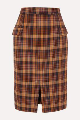 REMAIN Birger Christensen - Maine Checked Cotton-blend Pencil Skirt - Orange
