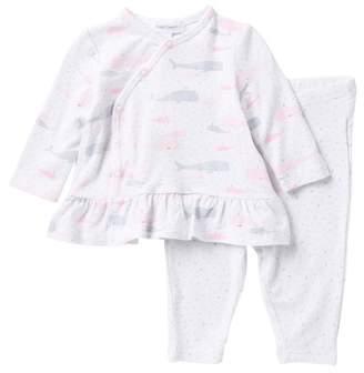 Angel Dear Whales Kimono Top & Pants Set (Baby Girls)