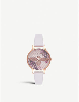 Olivia Burton Botanical bee rose-gold and leather watch
