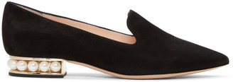 Nicholas Kirkwood Black Suede Casati Pearl Loafers $695 thestylecure.com