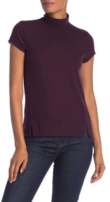 H By Bordeaux Mock Neck Hacci Cap Sleeve Tee