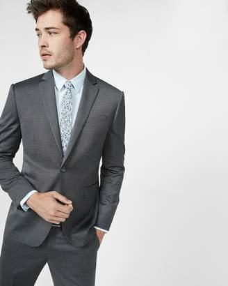 Express Slim Dark Gray Wool Blend Oxford Suit Jacket