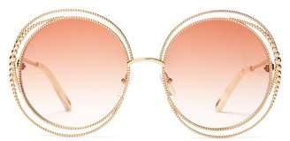 2905c6ec3f5 Chloé Carlina Chain Frame Oversized Round Sunglasses - Womens - Dark Pink