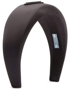 Prada Logo Plaque Satin Headband - Womens - Black
