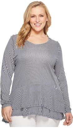 MICHAEL Michael Kors Size Petite Stripe Double Hem Top Women's Clothing