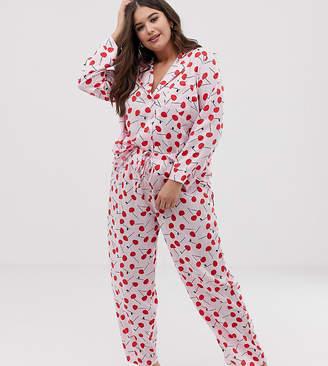 dc24998573d Asos DESIGN Curve mix & match cherry pyjama trouser in 100% woven modal