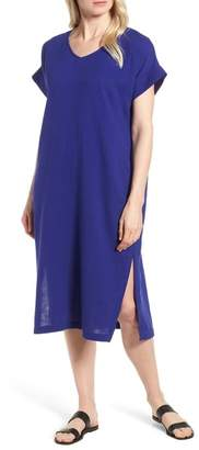 Eileen Fisher V-Neck Cotton Midi Dress (Regular & Petite)