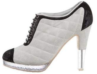 Chanel Quilted Lace-Up Booties