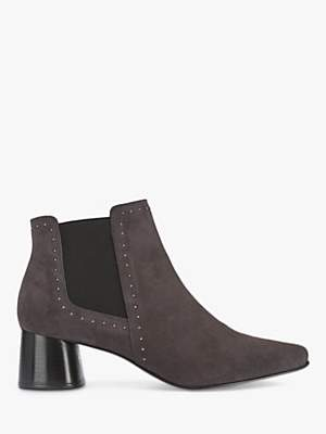 Mint Velvet Maya Slip On Block Heel Suede Ankle Boots, Grey