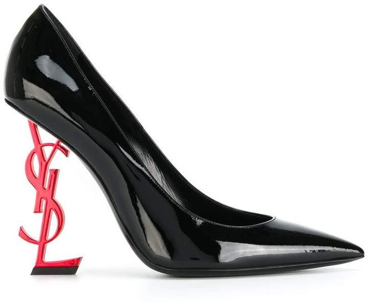 Saint Laurent Black Patent Red Heel Opyum 110 Pumps