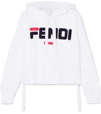 Fendi Embroidered Cotton-jersey Hoodie - White