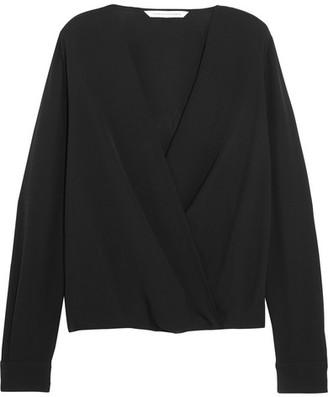 Diane von Furstenberg - Marci Wrap-effect Silk-crepe Blouse - Black $300 thestylecure.com