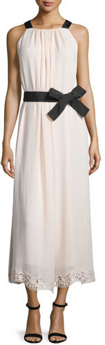 Kate Spade kate spade new york Sleeveless Silk Lace-Trim Midi Dress, Antilles Bubbles