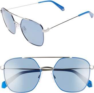 Polaroid Eyewear 56mm Polarized Square Aviator Sunglasses