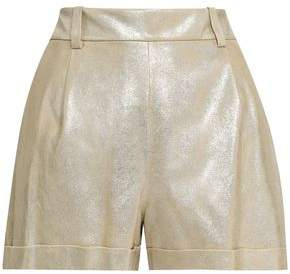 Diane von Furstenberg Metallic Suede Shorts