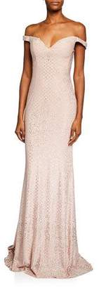 Jovani Glittery Off-the-Shoulder Sweetheart Gown
