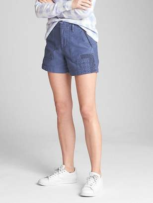"Gap High Rise 5"" Utility Shorts with Patch Detail"