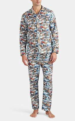 Maison Marcy Men's Ski-Town Micro-Basket-Weave Cotton Slim Pajama Set - Neut. pat.