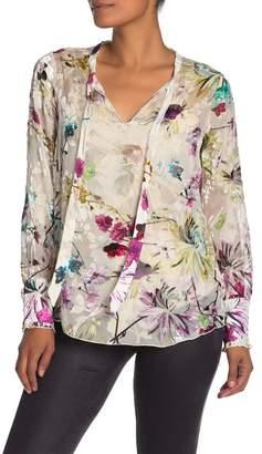 Hale Bob Meredith Long Sleeve Silk Blend Velvet Floral Applique Blouse