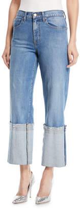 Oscar de la Renta Wide-Leg Cuffed Ankle Jeans