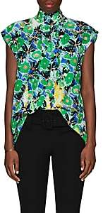 Prada Women's Gardenia-Print Silk Blouse - Green