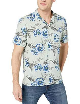 Lucky Brand Men's Short Sleeve Button UP Maui Tencel Club Collar Shirt