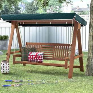 Loon Peak Allen 3 Seater Wood Canopy Porch Swing with Stand