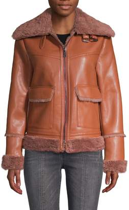 Bagatelle Faux Fur-Trimmed Faux Leather Jacket