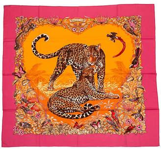 One Kings Lane Vintage Hermès Cashmere Pink Jungle Love Shawl