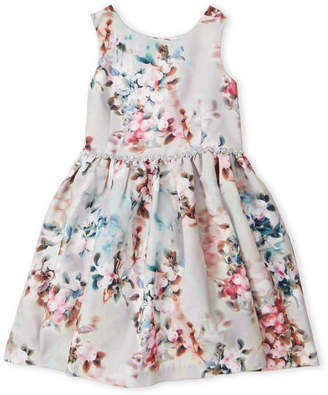 Pippa & Julie (Girls 4-6x) Floral Rhinestone Waist Dress