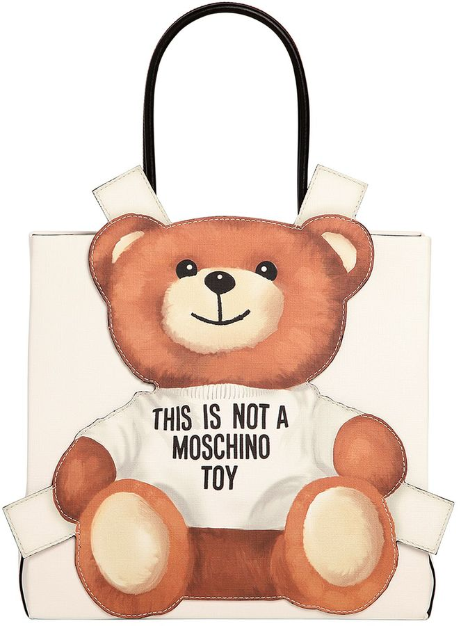 MoschinoTeddy Bear Tab Faux Leather Tote Bag