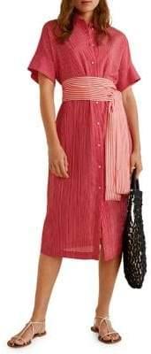 MANGO Striped Waist-Tie Shirt Dress