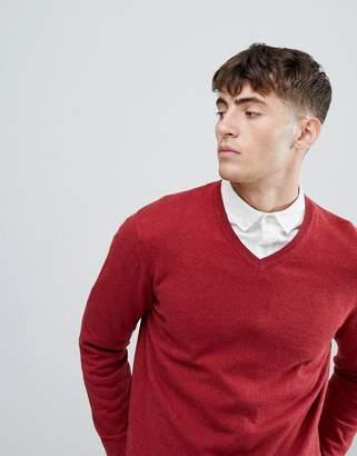 Esprit V-Neck Cashmere Mix Sweater In Burgundy