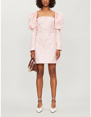 Ophelia OLIVIA ROSE THE LABEL puffed-sleeve floral brocade crepe mini dress