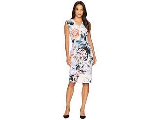 Calvin Klein V-Neck Flower Print Sheath Dress CD8M98AV
