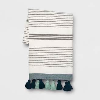 Opalhouse Teal Pom Pom Stripe Oversized End of Bed Throw