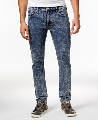 GUESS Men's Indigo Skinny-Fit Acid Wash Jeans $108 thestylecure.com