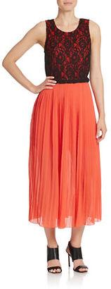 Kensie Lace Overlay Chiffon Midi Dress $119 thestylecure.com