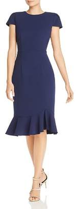 Betsey Johnson Puff-Sleeve Scuba Crepe Dress