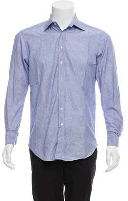 Etro Floral Print Pinstripe Button-Up