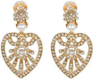 Oscar de la Renta Heart Drop Crystal-Embellished Earrings