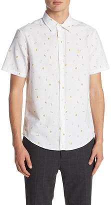 Original Penguin Short Sleeve Beer Print Slim Fit Oxford Shirt