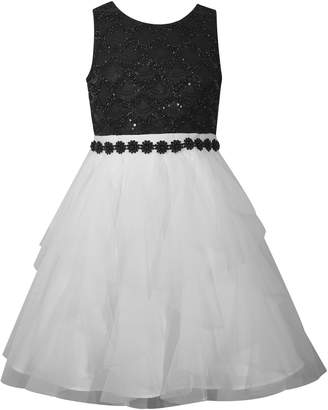 Bonnie Jean Girls 7-16 Sequined Lace Beaded Trim Party Dress