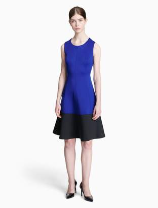 Calvin Klein colorblock scuba fit + flare dress