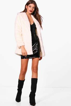 boohoo Joanna Boutique Shawl Collar Belted Faux Fur Coat