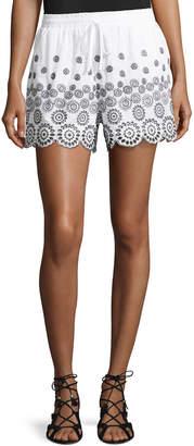 Neiman Marcus Embroidered Cotton Shorts, White/Black