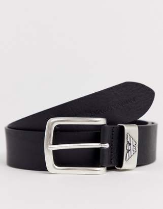 Emporio Armani logo keeper leather belt in black